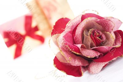 red artificial rose close-up