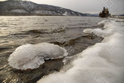Northern, Siberian river in the winter.