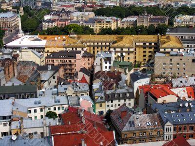 birds eye view of old town ,Riga, Latvia