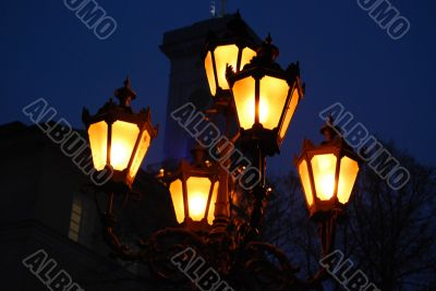 Five Orange Old Lamps