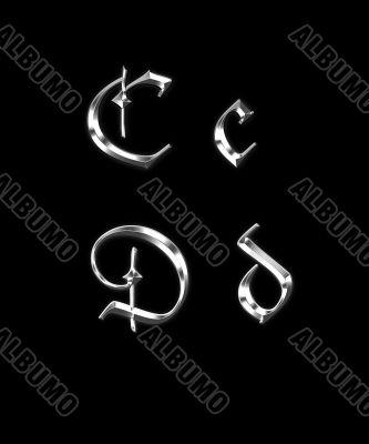 Silver letters C, D