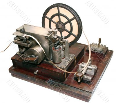 isolated obsolete vintage morse telegraph machine