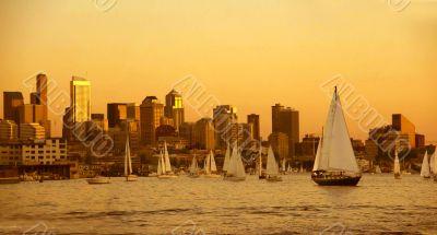 Sunset panorama, Seattle skyline, sailboats