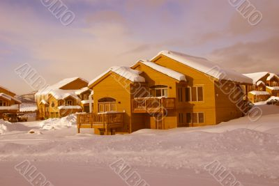 Townhouses after heavy snowstorm