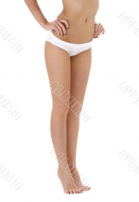 healthy legs in white bikini panties