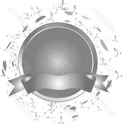 Grey button with banner