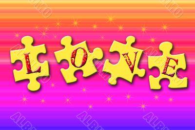 Love Puzzle on Rainbow Background