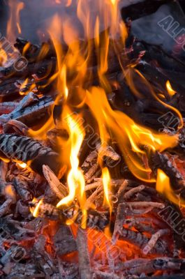 burning embers fireplace abstract background