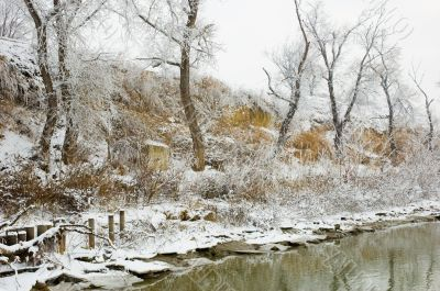 winter Danube river bank landscape