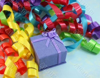 Purple Gift Box with Colorful Curly Ribbons