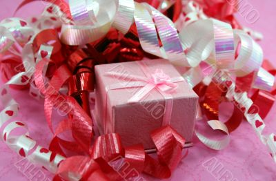 Pink Gift Box with Curly Ribbon