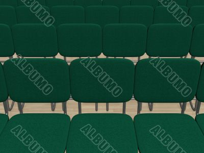Interior. A hall with rows of seats. 3D image.