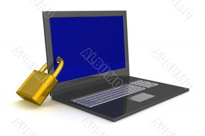 Laptop. The concept of information safety. 3D image.