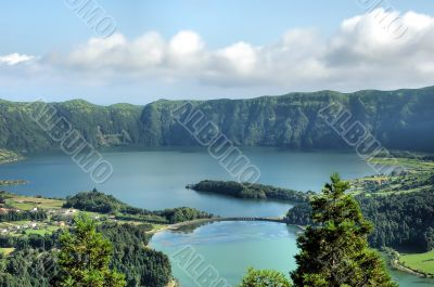Lakes in a volcanic crater