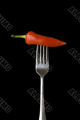 Red pepper on a silver for against a black background