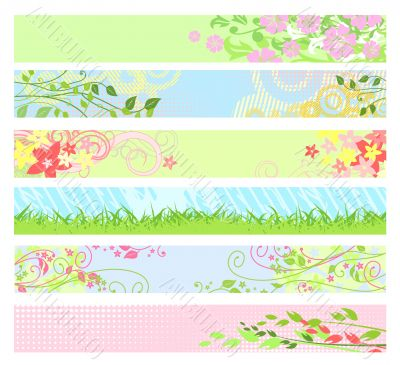 Spring floral website banners / vector
