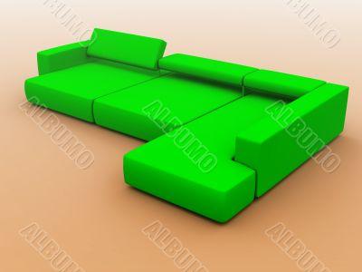 sofa in green tones