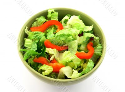 Simple salad in a green bowl