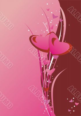 hearts on the pink background