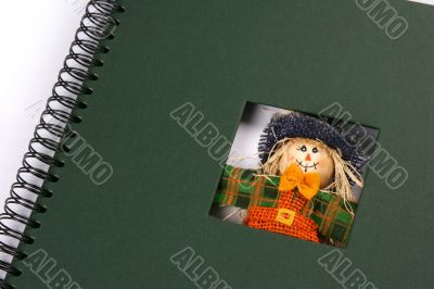 Framework album with colored scarecrow in green frame
