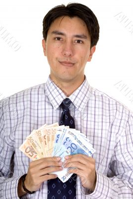business man holding euro notes