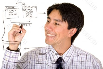 business man drawing a database plan on the screen