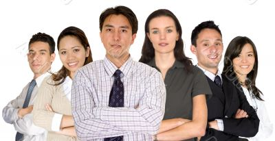 business partners and their diverse team