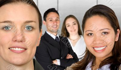 business female partners with their team