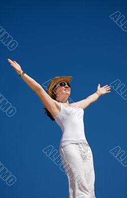 beautiful girl enjoying freedom