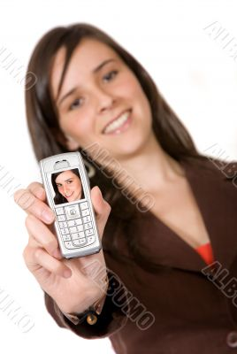 beautiful girl showing her photo on her mobile phone