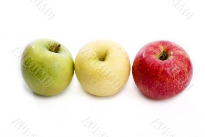 three apples of different colours
