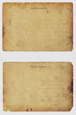 Two old shabby blank postcards.