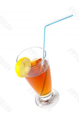 Tea with a straw and the slice of lemon