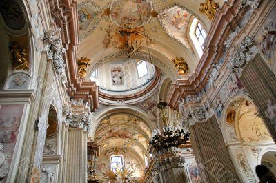 interior of roman catholic cathedral church