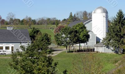 Barn and white silo in Connecticut