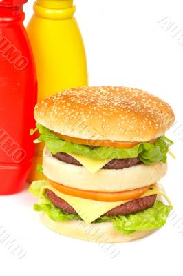 Double cheeseburger with mustard and ketchup