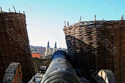 cannon pointed at the old town