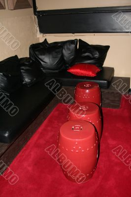 Black Leather and Red Leather Tables