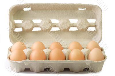 Brown Eggs in a Cardboard
