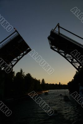 Sunset, Montlake drawbridge opening