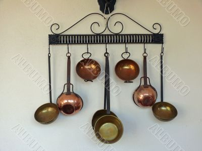 Old metallic kitchenware