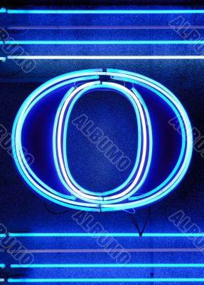 The letter `O` in neon
