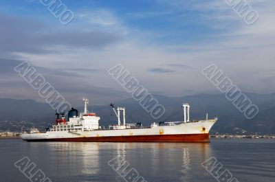 White commercial ship