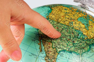 United States on the globe