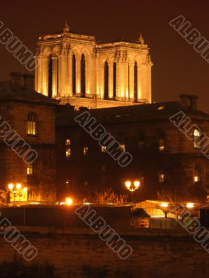 Paris by night - Towers of Notre-Dame cathedral