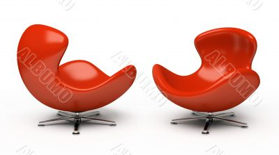 Leather red armchair (right and left view) isolated on white bac