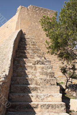 Wall of fortification of castle Santa Barbara