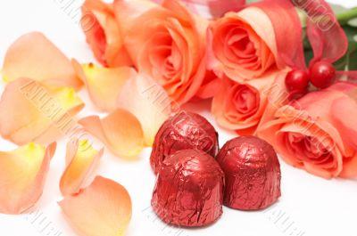 Valentines chocolates with roses