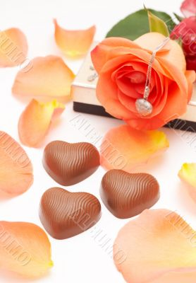 Valentines chocolates and roses