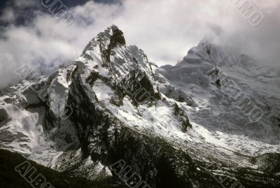 Jagged snow capped peaks
